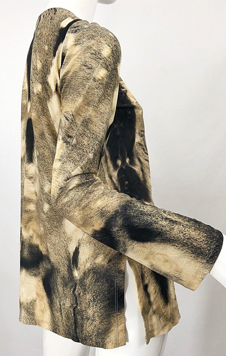 Roberto Cavalli Trompe L'Oeil Faux Fur Print Brown Beaded Jersey Tunic 90s Shirt For Sale 6