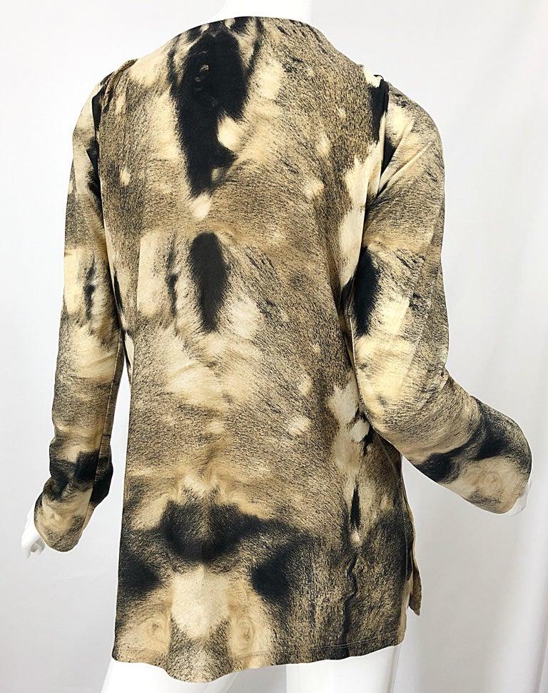 Roberto Cavalli Trompe L'Oeil Faux Fur Print Brown Beaded Jersey Tunic 90s Shirt For Sale 7