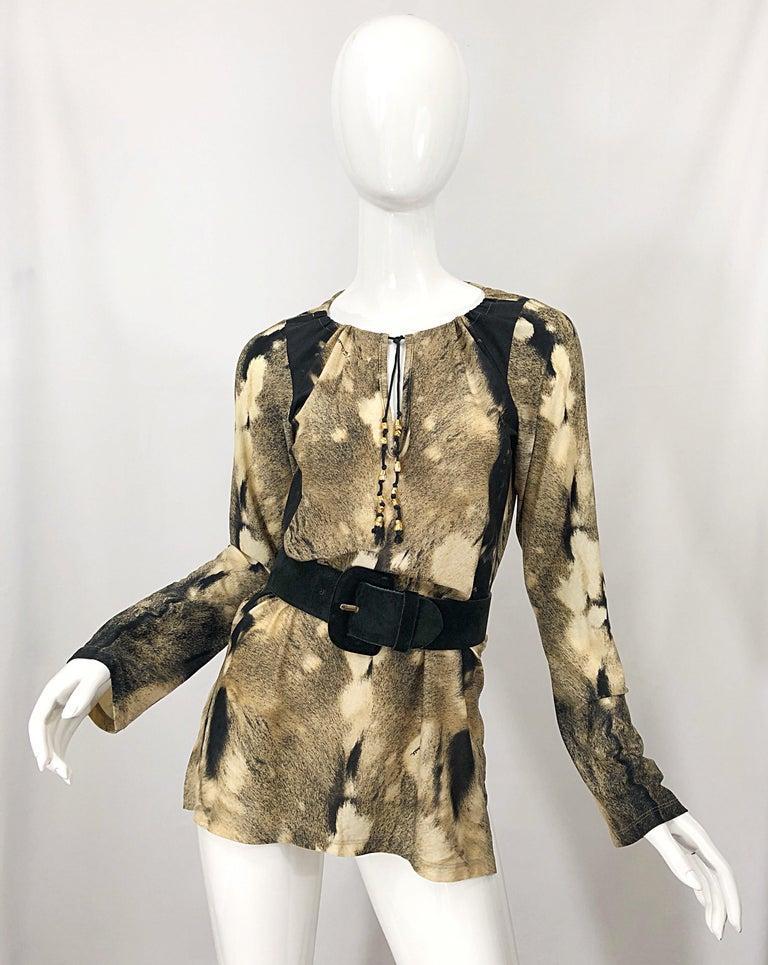 Roberto Cavalli Trompe L'Oeil Faux Fur Print Brown Beaded Jersey Tunic 90s Shirt For Sale 8