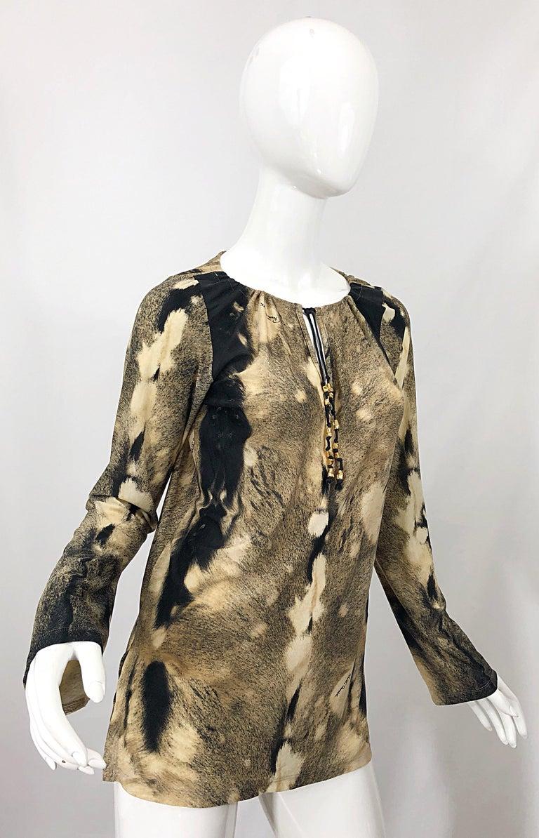Roberto Cavalli Trompe L'Oeil Faux Fur Print Brown Beaded Jersey Tunic 90s Shirt For Sale 9