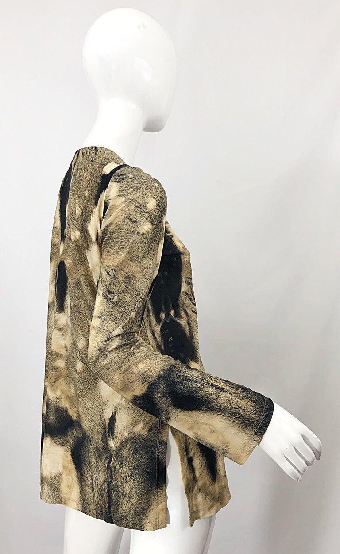 Roberto Cavalli Trompe L'Oeil Faux Fur Print Brown Beaded Jersey Tunic 90s Shirt For Sale 10