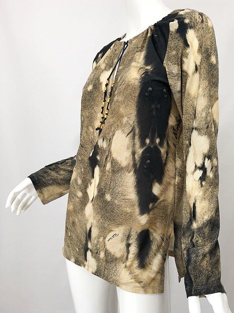 Roberto Cavalli Trompe L'Oeil Faux Fur Print Brown Beaded Jersey Tunic 90s Shirt For Sale 11
