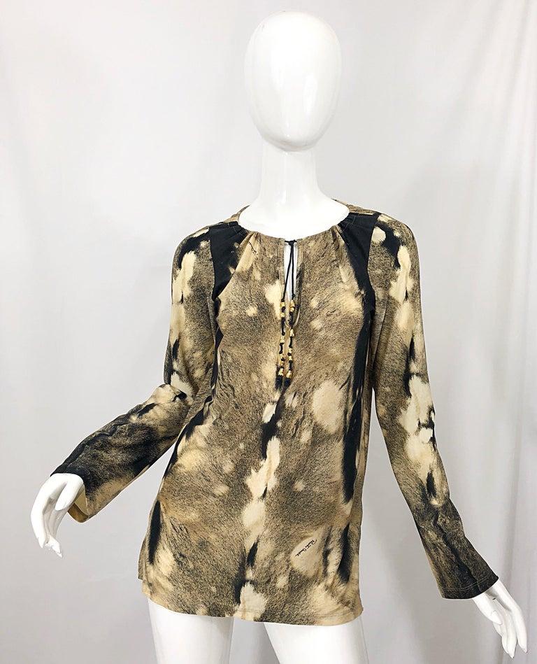 Roberto Cavalli Trompe L'Oeil Faux Fur Print Brown Beaded Jersey Tunic 90s Shirt For Sale 12