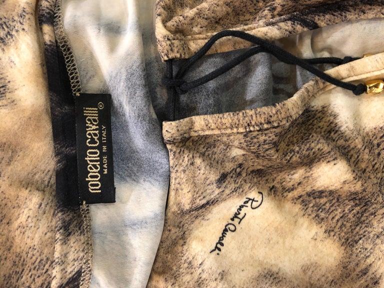 Roberto Cavalli Trompe L'Oeil Faux Fur Print Brown Beaded Jersey Tunic 90s Shirt For Sale 13