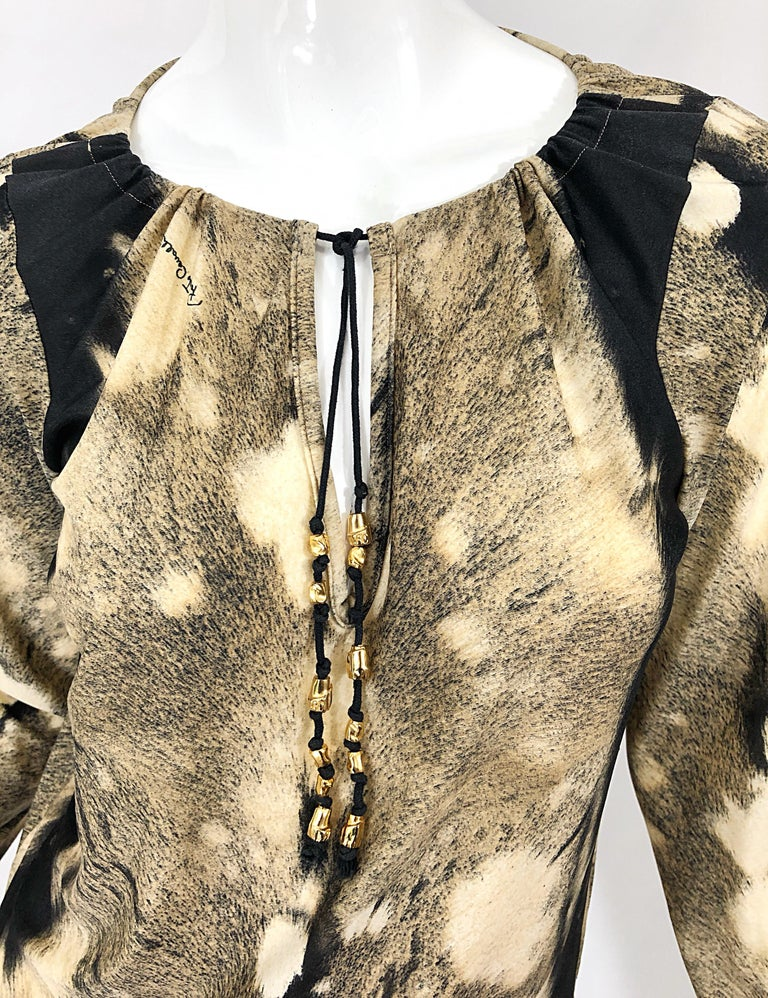 Roberto Cavalli Trompe L'Oeil Faux Fur Print Brown Beaded Jersey Tunic 90s Shirt In Excellent Condition For Sale In Chicago, IL