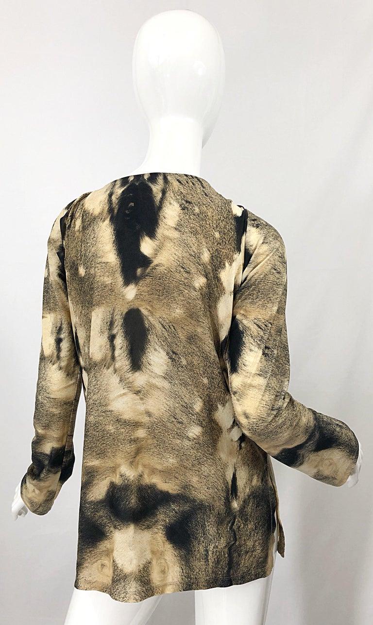 Women's Roberto Cavalli Trompe L'Oeil Faux Fur Print Brown Beaded Jersey Tunic 90s Shirt For Sale