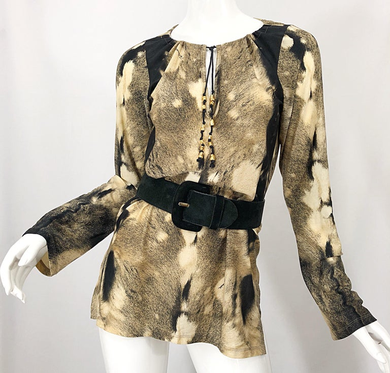 Roberto Cavalli Trompe L'Oeil Faux Fur Print Brown Beaded Jersey Tunic 90s Shirt For Sale 1