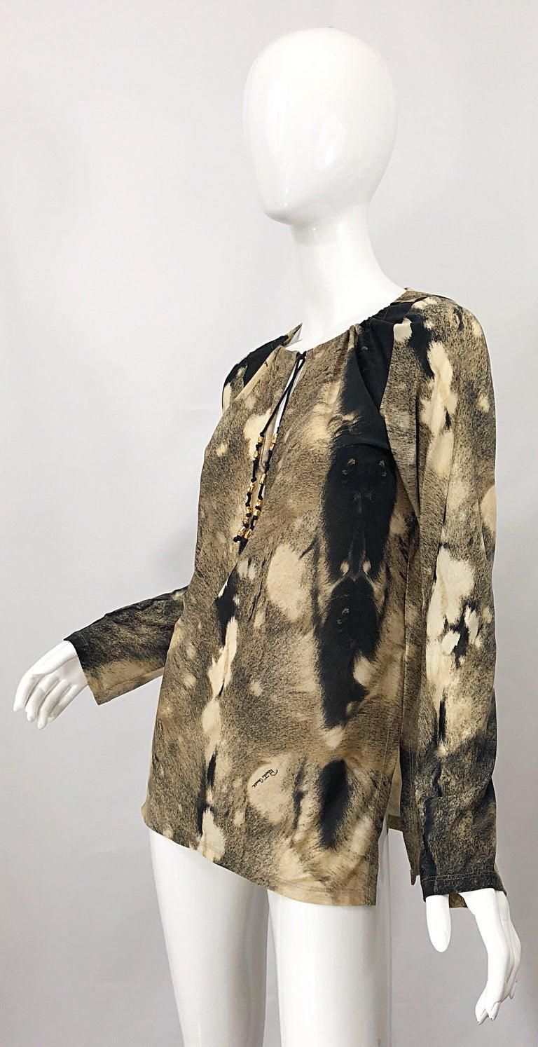 Roberto Cavalli Trompe L'Oeil Faux Fur Print Brown Beaded Jersey Tunic 90s Shirt For Sale 2