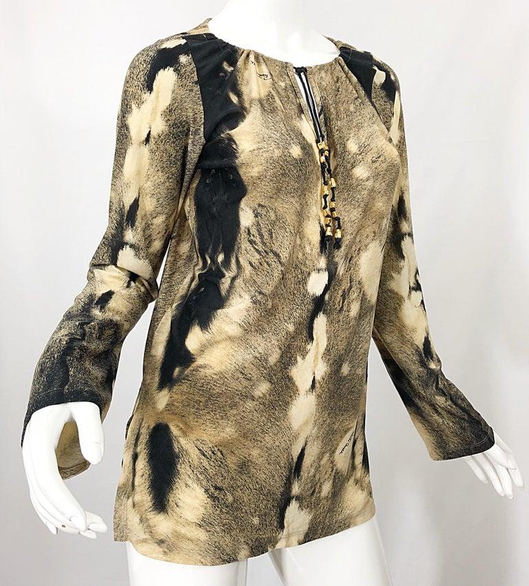 Roberto Cavalli Trompe L'Oeil Faux Fur Print Brown Beaded Jersey Tunic 90s Shirt For Sale 3