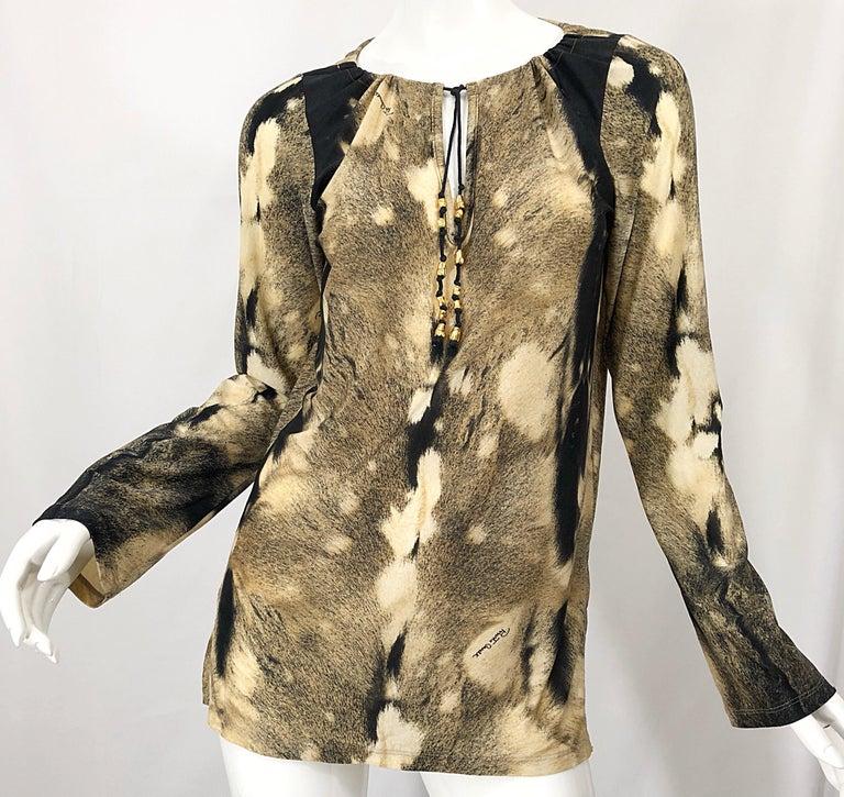 Roberto Cavalli Trompe L'Oeil Faux Fur Print Brown Beaded Jersey Tunic 90s Shirt For Sale 5