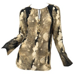 Roberto Cavalli Trompe L'Oeil Faux Fur Print Brown Beaded Jersey Tunic 90s Shirt