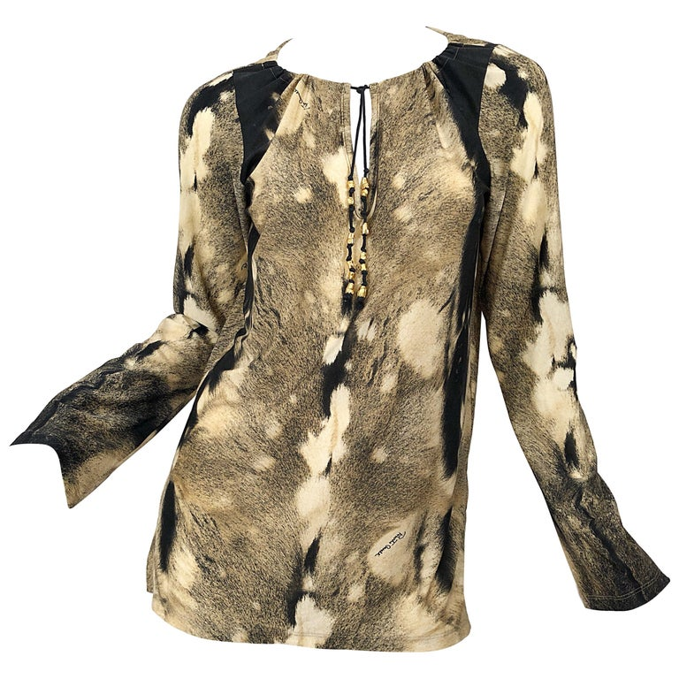 Roberto Cavalli Trompe L'Oeil Faux Fur Print Brown Beaded Jersey Tunic 90s Shirt For Sale