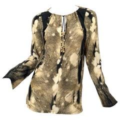 Roberto Cavalli Trompe L'Oeil Faux Fur Print Brown Beaded Jersey Tunic 90s Shirt