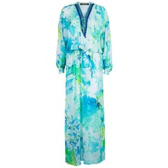 Roberto Cavalli Tropical Print Embellished Kaftan Dress S