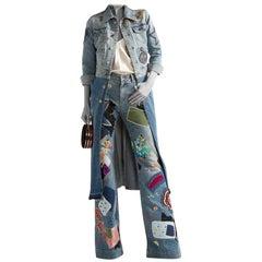 Roberto Cavalli Two-tone Patchwork Denim Embellished Longline Coat - Size L