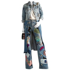 Roberto Cavalli Two-tone Patchwork Denim Embellished Longline Coat - Size M