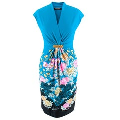 Roberto Cavalli V-Neck Floral Mini Dress - Size US 4