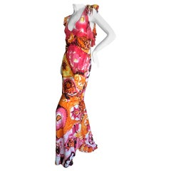 Roberto Cavalli Vintage 1980's Acid Bright Psychedelic Bias Cut Evening Dress