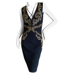 Roberto Cavalli Vintage 90's Black Baroque Pattern Embellished Cocktail Dress