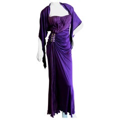 Roberto Cavalli Vintage 90's Purple Evening Dress with Side Embellishments XS