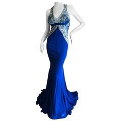 Roberto Cavalli Vintage 90's Silk Evening Dress w Bead Embellishments and Train