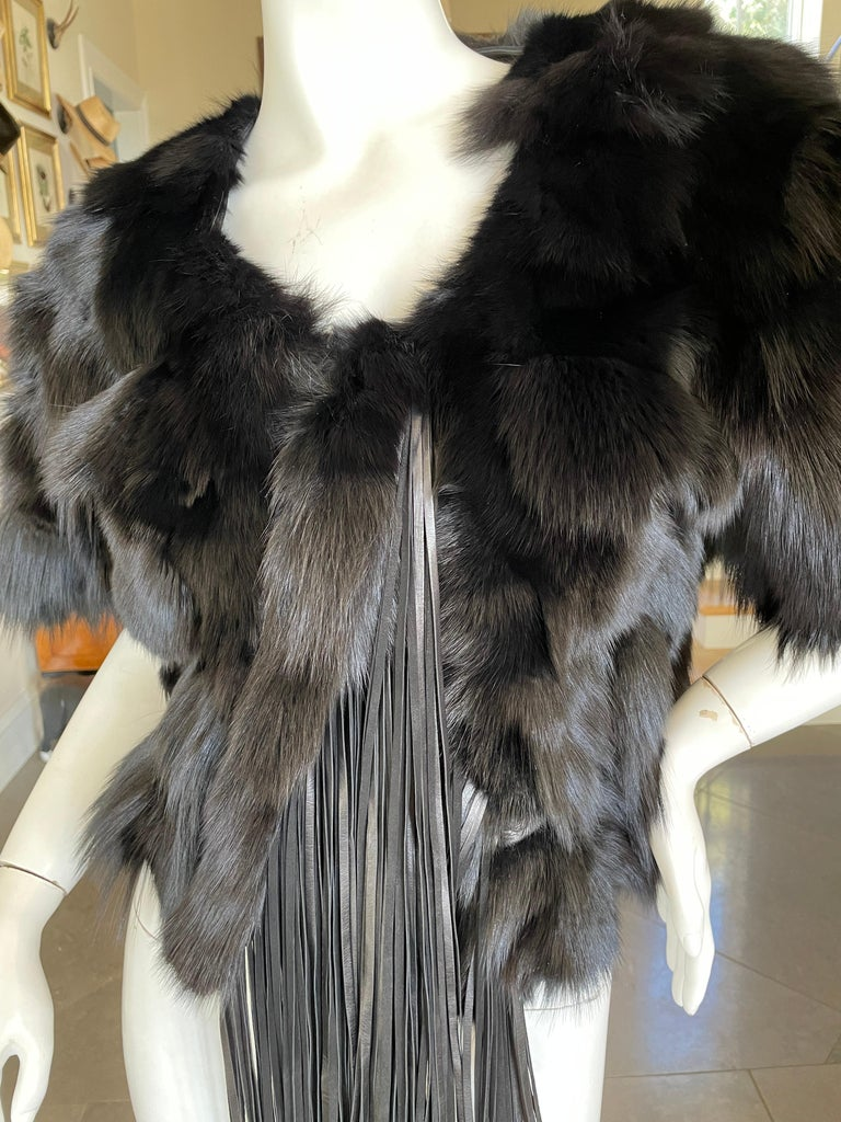 Women's Roberto Cavalli Vintage Black Fox Fur Bolero Jacket with Leather Fringe