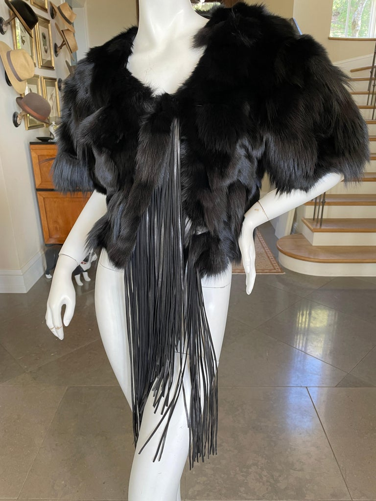 Roberto Cavalli Vintage Black Fox Fur Bolero Jacket with Leather Fringe 1