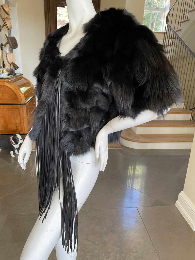 Roberto Cavalli Vintage Black Fox Fur Bolero Jacket with Leather Fringe 2