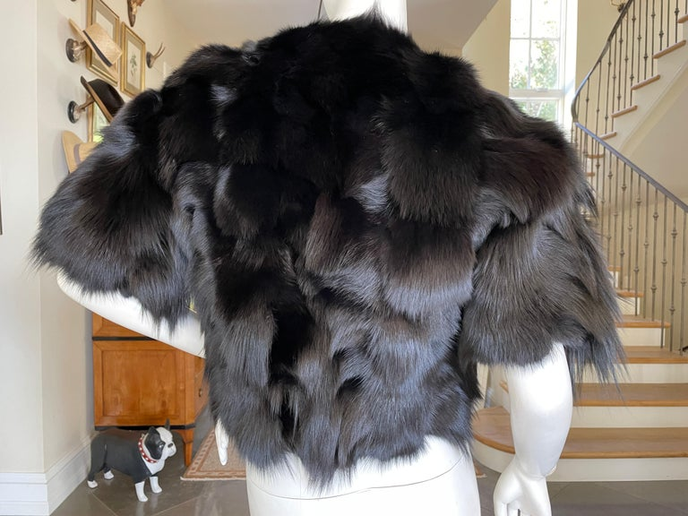 Roberto Cavalli Vintage Black Fox Fur Bolero Jacket with Leather Fringe 3
