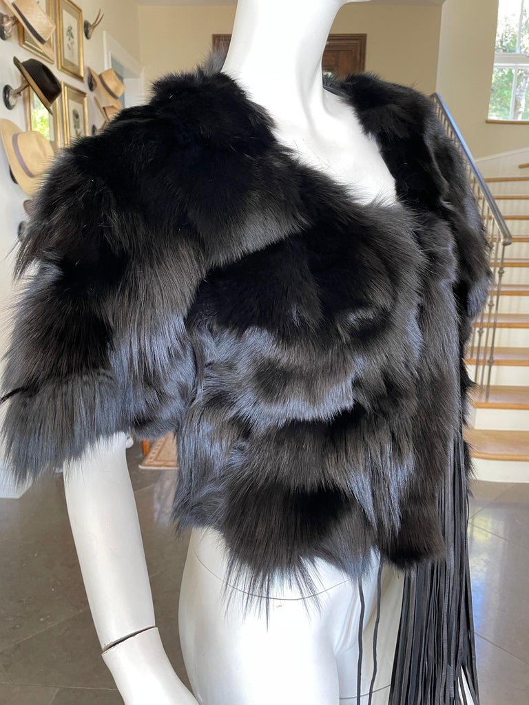 Roberto Cavalli Vintage Black Fox Fur Bolero Jacket with Leather Fringe 5