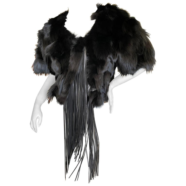 Roberto Cavalli Vintage Black Fox Fur Bolero Jacket with Leather Fringe