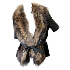 Roberto Cavalli Vintage Black Fur Short Jacket with Dramatic Fur Collar