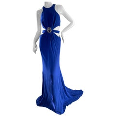 Roberto Cavalli Vintage Blue Jeweled Halter Evening Dress with Cut Out Side