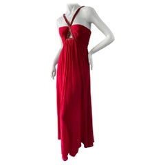 Roberto Cavalli Vintage Coral Red Silk Evening Dress with Keyhole Beaded Details