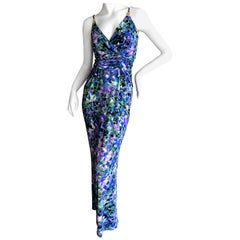 Roberto Cavalli Vintage Floral Maxi Dress with Jeweled Serpent Accents