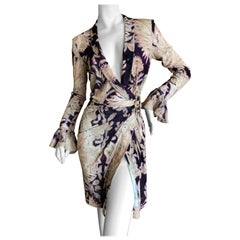 Roberto Cavalli Vintage Floral Print Cocktail Dress with Side Ornament