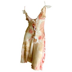 Roberto Cavalli Vintage Floral Silk Low Cut Floral Dress Size Large