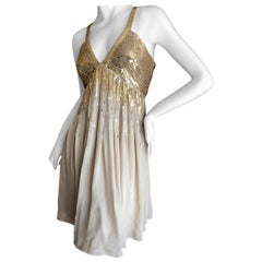 Roberto Cavalli Vintage Gold Silk Sequin Babydoll Mini Dress