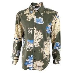 Roberto Cavalli Vintage Green & Gold Asian Print Mens Shirt