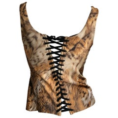Roberto Cavalli Vintage Leopard Print Corset Bustier with Lace Up Details