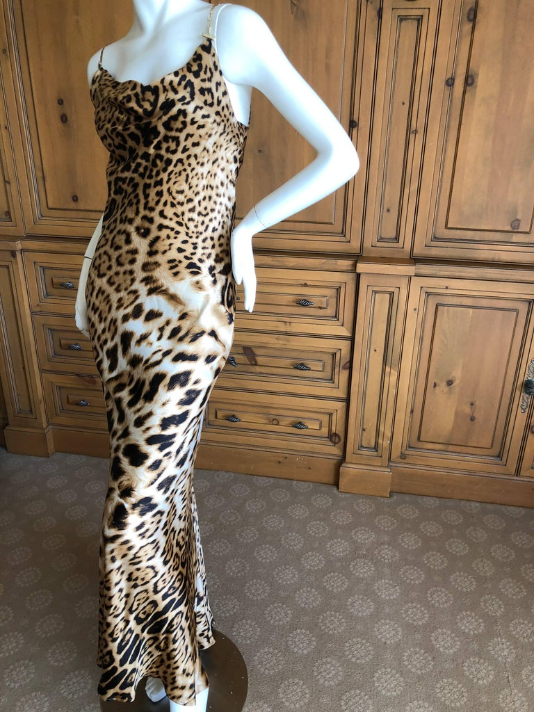 Roberto Cavalli Vintage Leopard Print Evening Dress with Gold Chain Straps  For Sale 1 4149060366