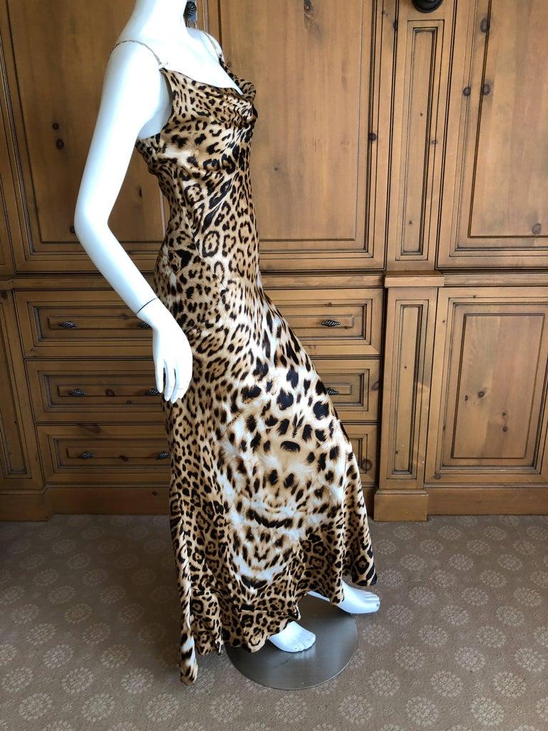 d7046f0426 Roberto Cavalli Vintage Leopard Print Evening Dress with Gold Chain ...