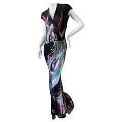 Roberto Cavalli VIntage Long Bird Print Evening Dress