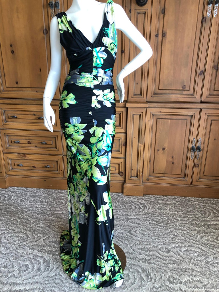 Roberto Cavalli Vintage Low Cut Floral Maxi Dress with Sexy Back Size L , there is a lot of stretch Bust 36