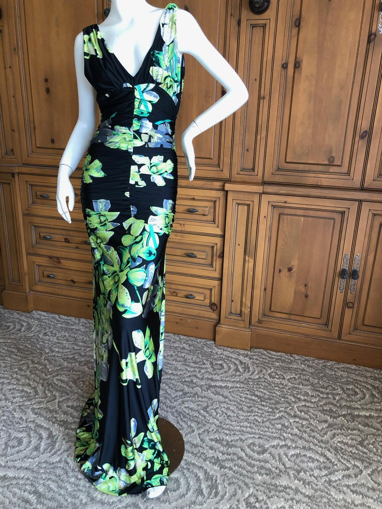 Roberto Cavalli Vintage Low Cut Floral Maxi Dress with Sexy Back In Excellent Condition For Sale In San Francisco, CA