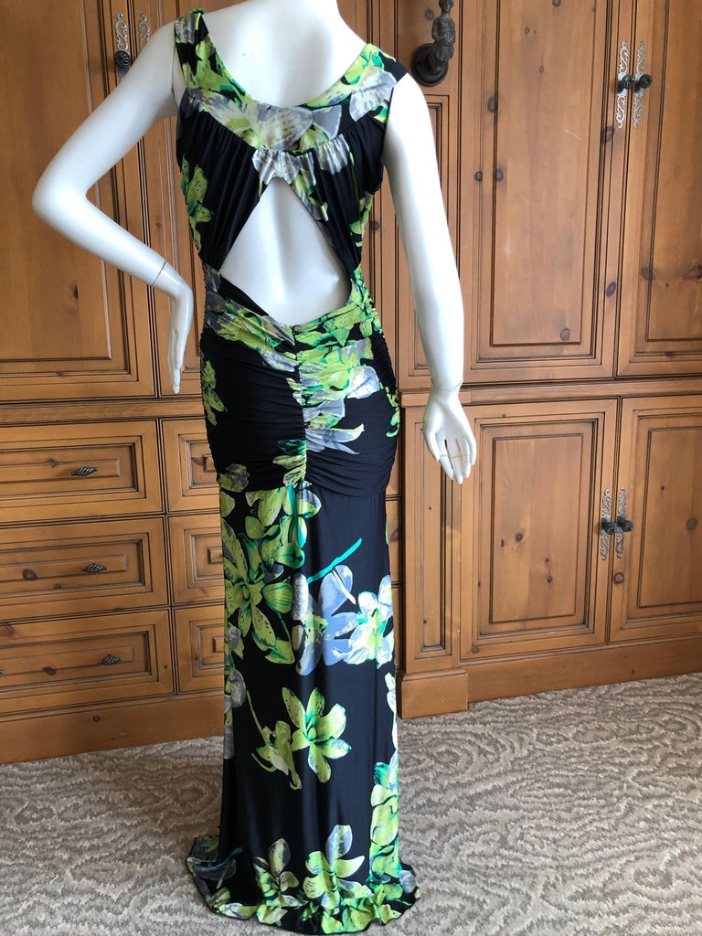Roberto Cavalli Vintage Low Cut Floral Maxi Dress with Sexy Back For Sale 2
