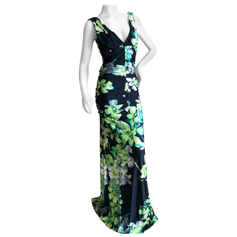 Roberto Cavalli Vintage Low Cut Floral Maxi Dress with Sexy Back For Sale
