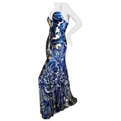 Roberto Cavalli Vintage Low Cut Paisley Print Maxi Dress with Full Skirt