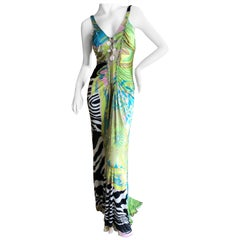 Roberto Cavalli Vintage Multi Print Evening Dress with Lace Up Details