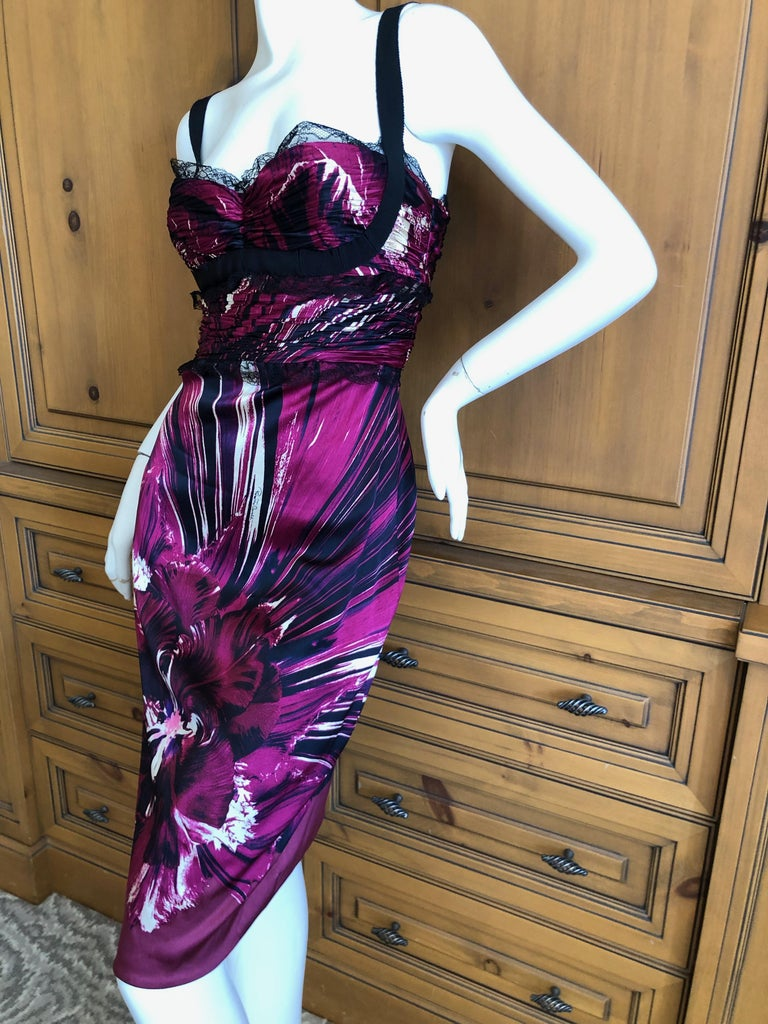 Roberto Cavalli Vintage Purple Silk Floral Cocktail Dress with Lace Details Size 44, there is a lot of stretch Bust 36